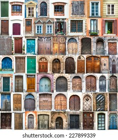 photos of doors and windows of the old districts of Europe