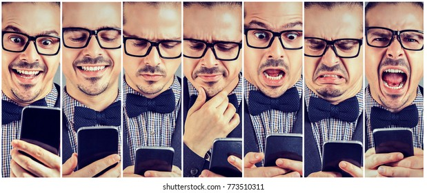 Photos of elegant man using smartphone with various emotions.