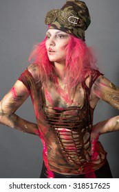 photos of girls in body art image with pink hair on a dark background