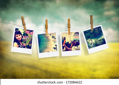 photos of holiday people hanging on clothesline with grunge background