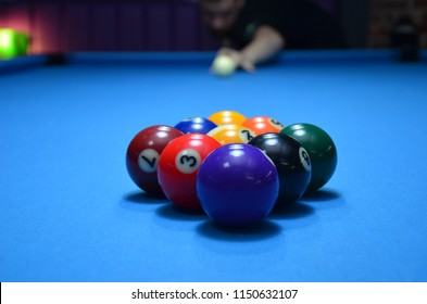 Photos of pool table with 9-ball set-up