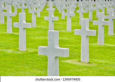 Photos of the sea of headstones at The Normandy American Cemetery at Colleville-sur-Mer, France on an overcast day on 9/27/2016, honoring those that died during the Normandy invasion.