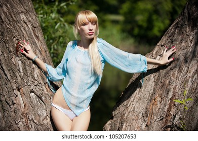 Photos of sexy attractive blonde posing on a background an old tree