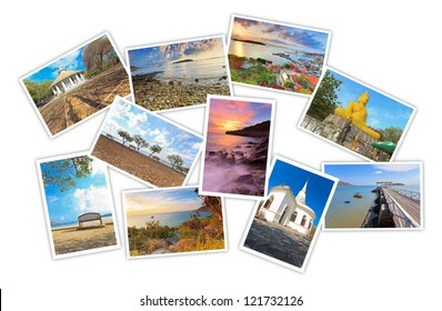 photos of tourist attraction at Sichang Island Chonburi Thailand collages on white background