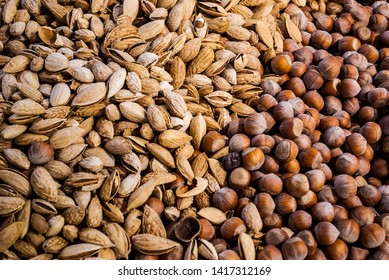 photos of various nuts.  view from above