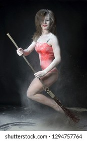 photosession of beautiful young woman with flour in studio, Kyiv, Ukraine