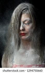 photosession in studio face in flour,  Kyiv, Ukraine