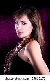 Photo-session of the young beautiful elegant  brunette, studio shot
