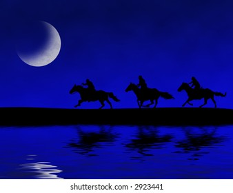 Photoshop drawing of three people riding horses on a moon-lit night.