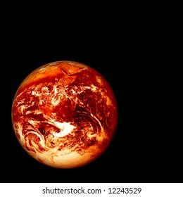 photoshopped image (based on a Nasa public domain image) of a red hot glowing, burning earth, global warming concept