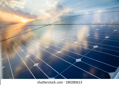 Photovoltaic cell on the background of sunset