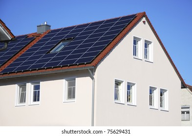Photovoltaic cells on the roof of a house