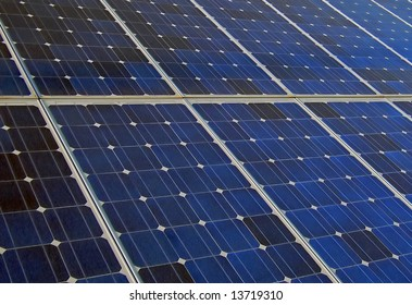 Photovoltaic cells in solar energy panels on a power plant