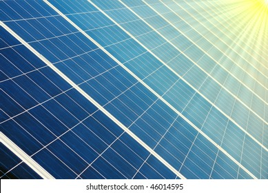 Photovoltaic cells of a solar panel with illuminated by sun