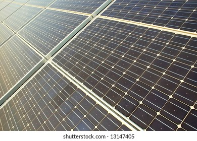 Photovoltaic cells in a solar panel - perspective view