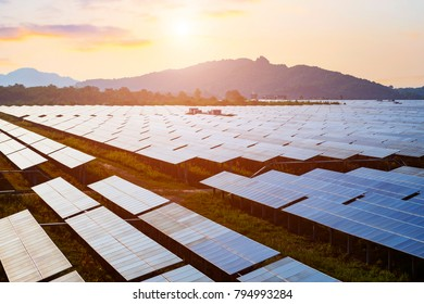 photovoltaic cells in the sunset