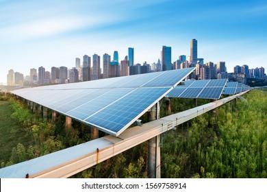 Photovoltaic and modern city skyline, China Chongqing.