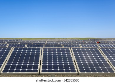 photovoltaic modules in prairie, power plant using renewable solar energy