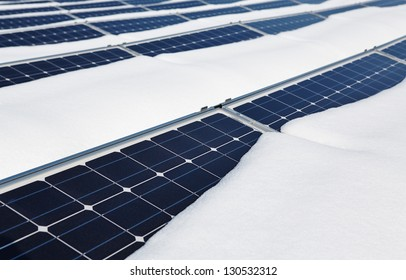 photovoltaic modules in winter covered by snow
