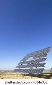 photovoltaic panel with clear sky