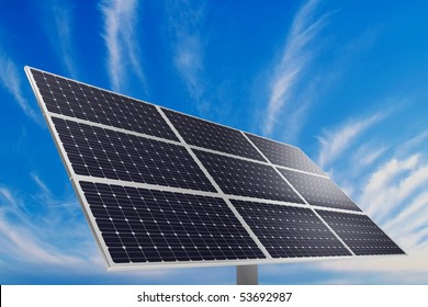 A photovoltaic panel. Solar power plant.