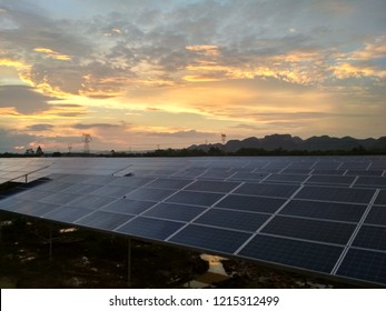 Photovoltaic panel under dim sunset