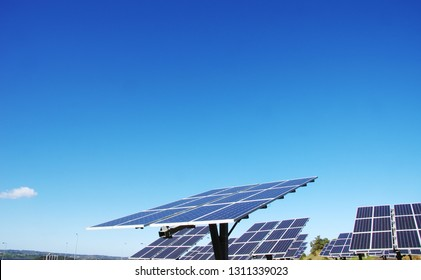 Photovoltaic panels , blue sky in Portugal