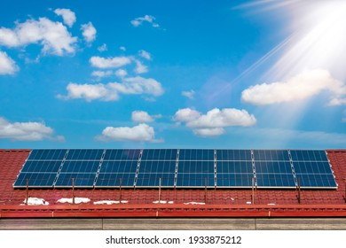Photovoltaic panels on the roof. Renewable clean green energy.