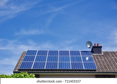 Photovoltaic panels on the roof of a residential building with copyspace