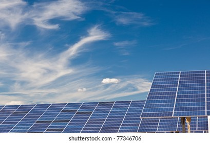 Photovoltaic panels in a solar power plant.