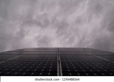 Photovoltaic panels under cloudy sky, Italy