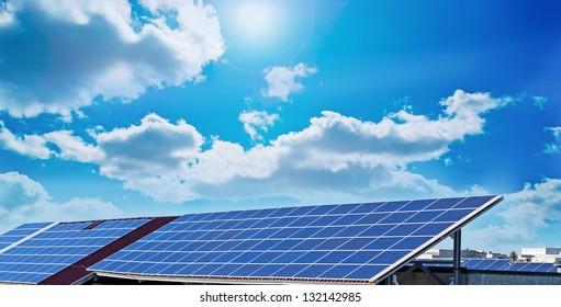 photovoltaic panels under a sunny sky