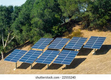 Photovoltaic panels used to power a rural home.