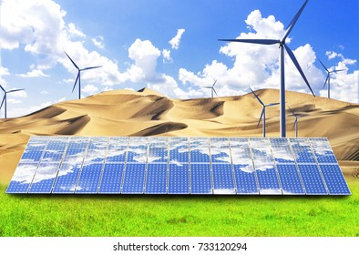 Photovoltaic power generation and wind turbines turn the desert into an oasis