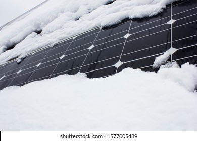 Photovoltaic power plant in winter.Problems in the production of energy covered with snow panels.Solar cells in fog.power plant in ice.