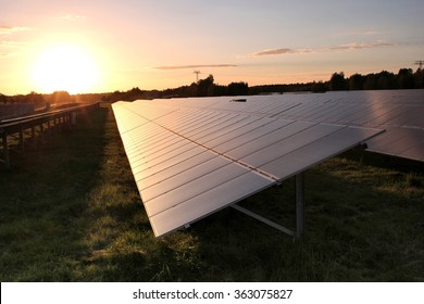 photovoltaic power station at sunset