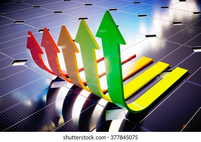 Photovoltaic savings. 3D computer generated image.