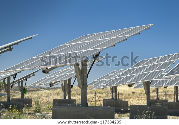 Photovoltaic silicon panels with tilted single axis track system in a small solar power plant, Portugal
