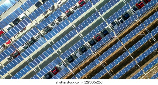 Photovoltaic solar cell roof for aerial car parking lot