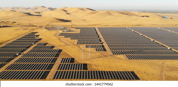 Photovoltaic solar panels in California Areal view.