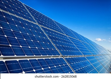Photovoltaic solar panels installation and sky