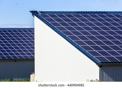 Photovoltaic Solar Panels on big agricultural warehouses