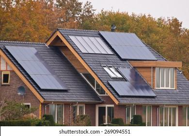 Photovoltaic Solar Panels on Newly Built Modern House