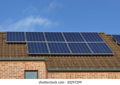 Photovoltaic solar panels on private house roof