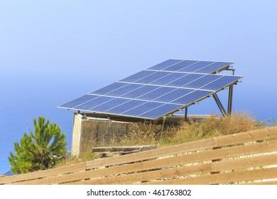 photovoltaic solar panels , pine tree, sea