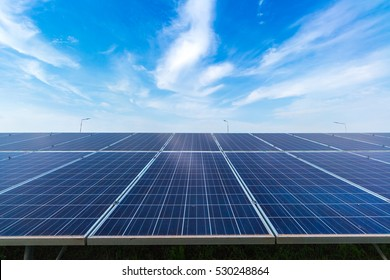 photovoltaic solar power panel on biue sky background, green clean Alternative power energy concept.