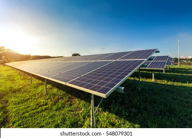 photovoltaic solar power panel on sky background, green clean Alternative power energy concept.