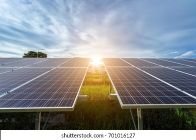 photovoltaic solar power panel on sky background,green clean Alternative power energy concept.