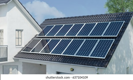 Photovoltaic solar system on house roof as green electricity and sustainability concept (3D Rendering)