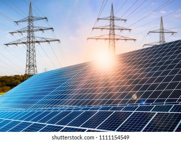 Photovoltaic system with power poles and bright sunshine